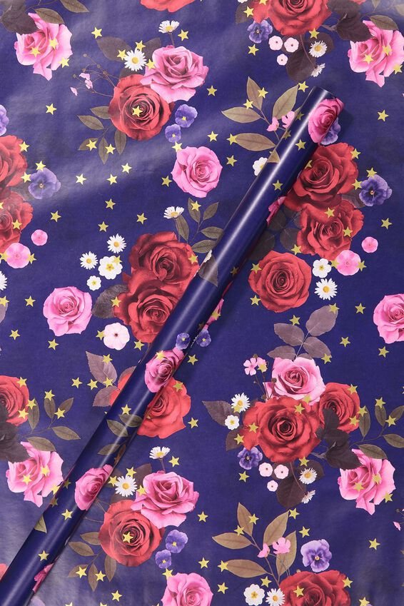 Roll Wrapping Paper, NAVY FLORAL & PINK