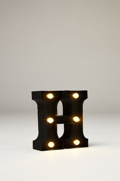 Mini Marquee Letter Lights 10cm, BLACK RUBBER H