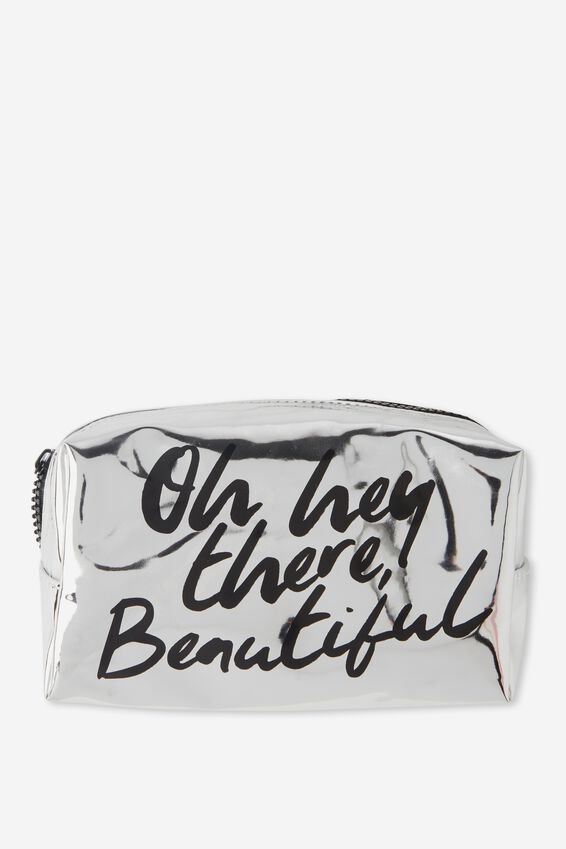Made Up Cosmetic Bag, SILVER BEAUTIFUL