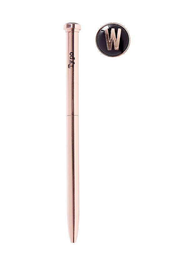 Initial Ballpoint Pen, ROSE GOLD W