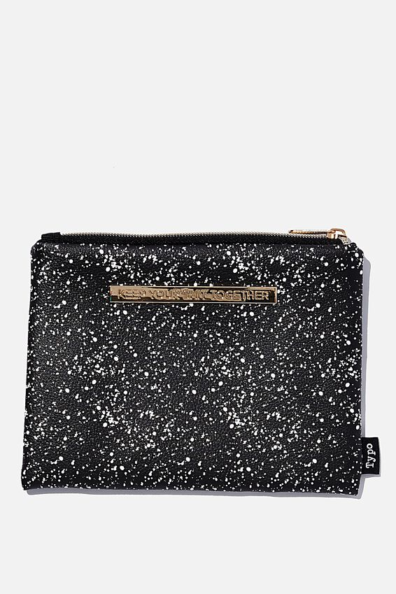 Pu Campus Pencil Case, BLACK SPLATTER