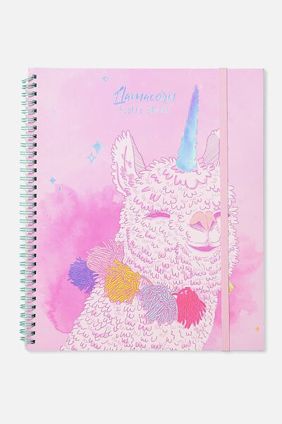 College Ruled Spinout Notebook V, LLAMA CORN