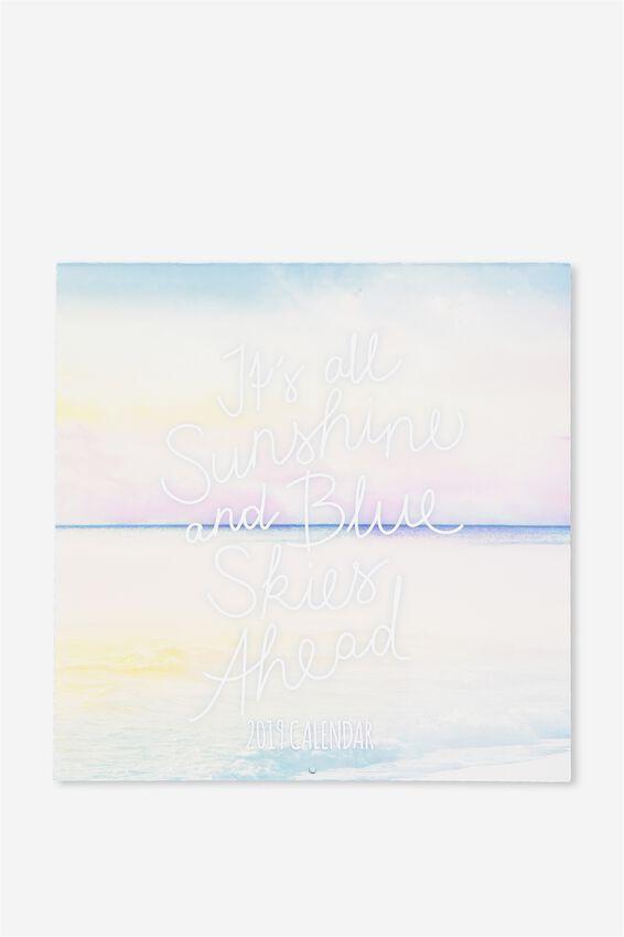 2019 Square Calendar, PASTEL TRAVEL