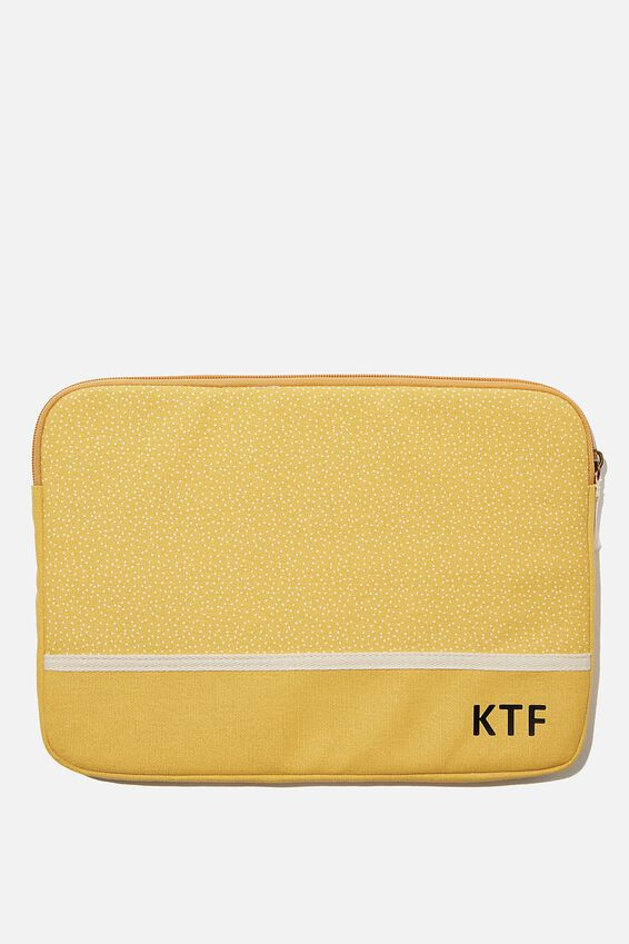 Personalised Canvas 13 Inch Laptop Case, MUSTARD MICRO SPOT