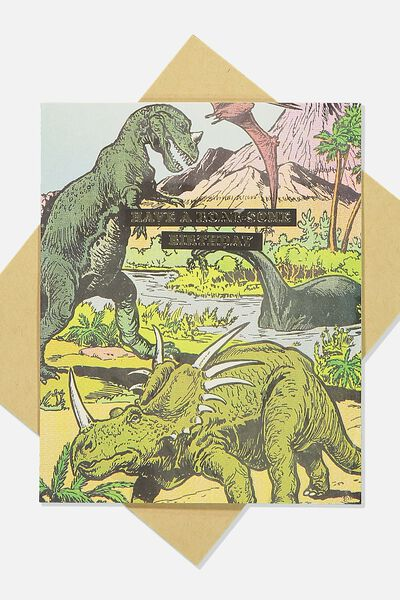 Nice Birthday Card, ROARSOME BIRTHDAY DINOS