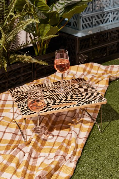 Picnic Table For Two, CHECKER BOARD BLACK
