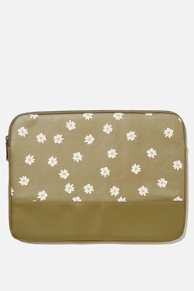 Take Me Away 15 Inch Laptop Case Pu, RG DAISY KHAKI WITH KHAKI SPLICE