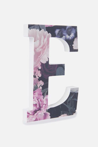 Letterpress Wooden Letter, BLACK FLORAL E