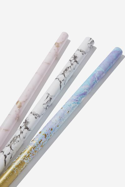 2019 Christmas Roll Wrap 3Pk, LUXE MARBLE