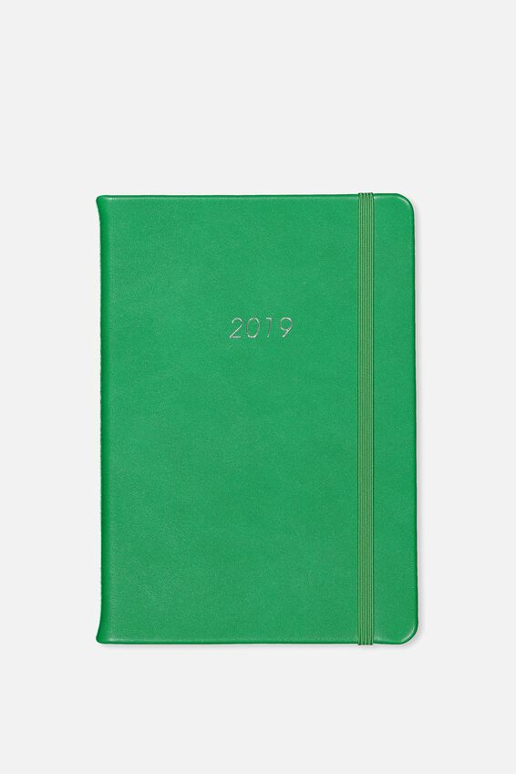 2019 A5 Medium Weekly Buffalo Planner, RACING GREEN