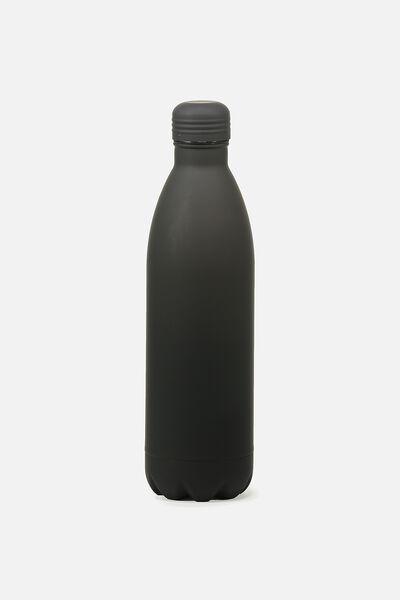 1L Metal Drink Bottle, RUBBER BLACK