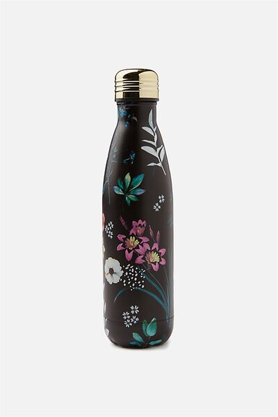 Metal Drink Bottle, BLACK FLORAL