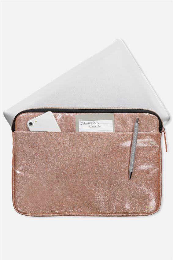 Core Laptop Cover 13 Inch, ROSE GOLD GLITTER