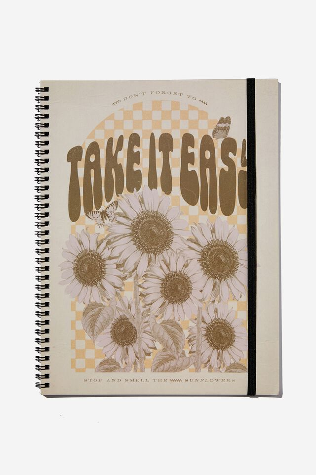 A4 Spinout Notebook Recycled, TAKE IT EASY SUNFLOWERS