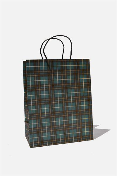 Get Stuffed Gift Bag - Medium, GREEN TARTAN