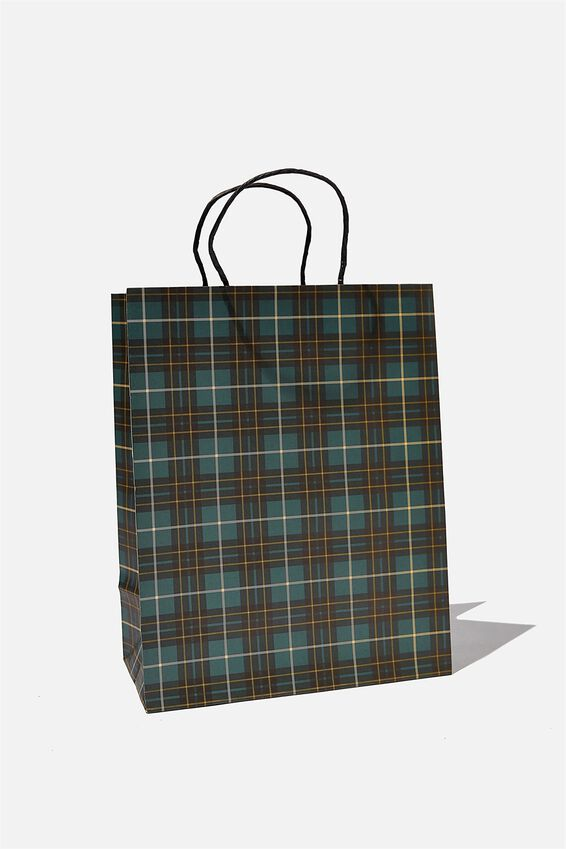 Get Stuffed Gift Bag - Medium, GREEN TARTAN