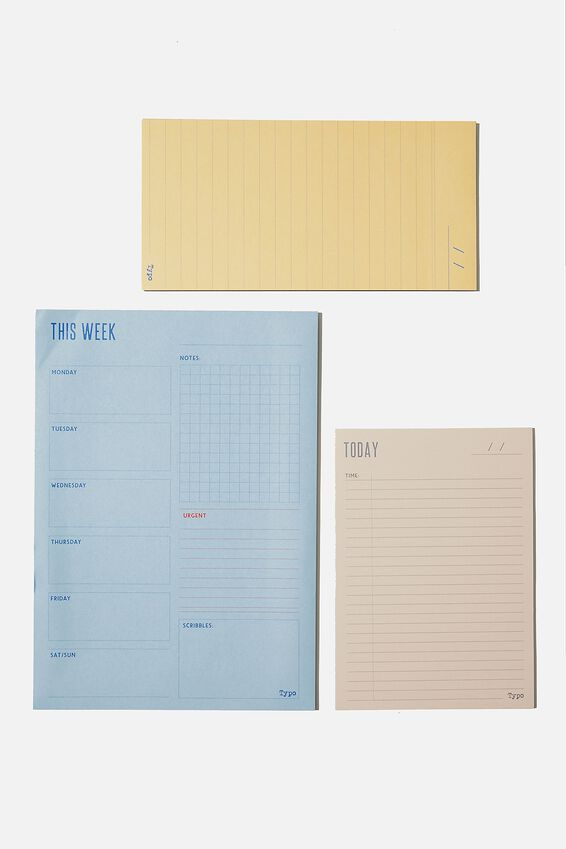 Notepad 3Pk, BLUE AND YELLOW