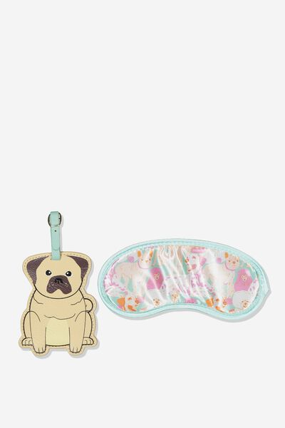Eye Mask & Luggage Tag Set, PUG YARDAGE