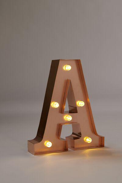 Marquee Letter Lights Premium 16cm Midi, ROSE GOLD A