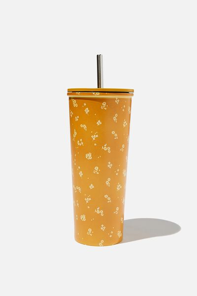 Metal Smoothie Cup, DOTTIE FLORAL MUSTARD