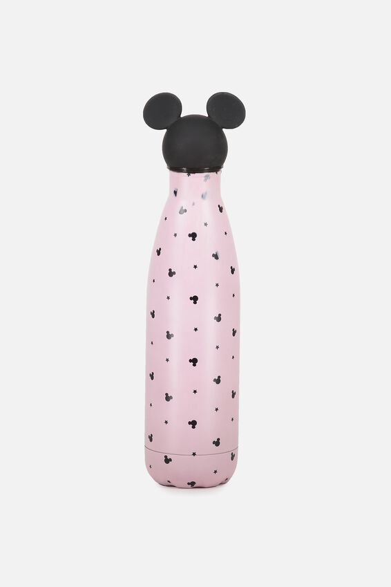 Mickey Metal Water Bottle, LCN MICKEY TOPPER BLUSH PRINT