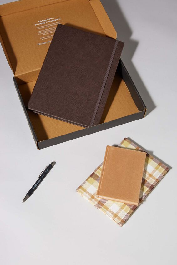 Premium Notebook Gift Set, BROWN CHECK
