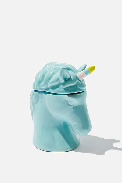 Large Ceramic Shaped Candle, UNICORN HEAD BLUE