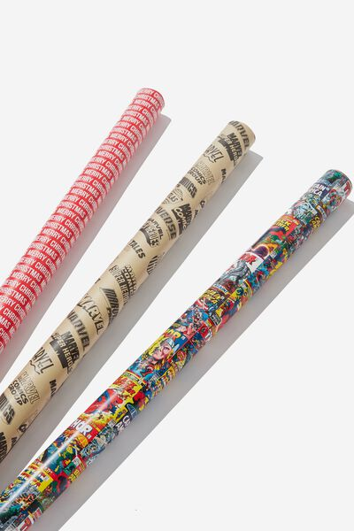 2019 Christmas Roll Wrap 3Pk, LCN MAR MARVEL