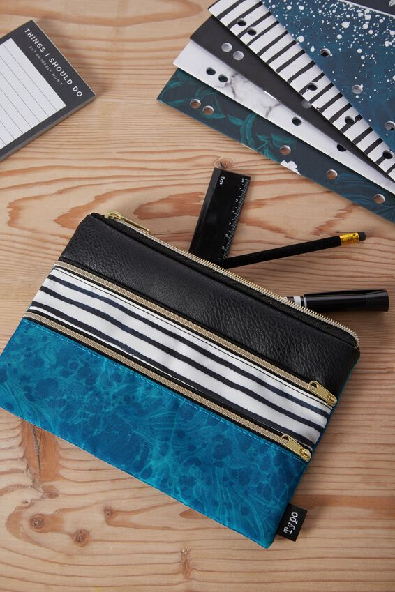 Double Archer Pencil Case, BLACK AND GREEN