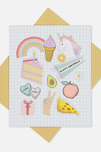 Premium Nice Birthday Card, EMBELLISHED ICONS