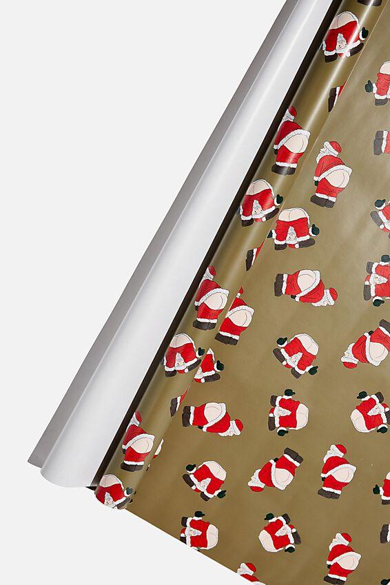 Roll Wrapping Paper, CRACKING SANTA KHAKI