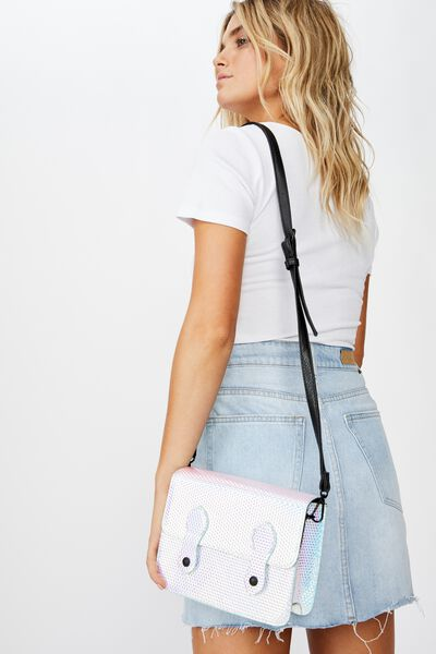Mini Buffalo Satchel Bag, HOLOGRAPHIC