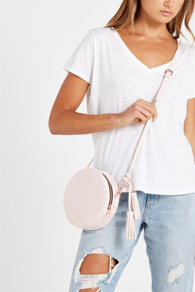 Round Cross Body Bag, PERF PINK