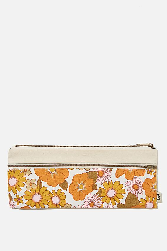 Patti Pencil Case, ORANGE AND PINK STEVIE FLORAL