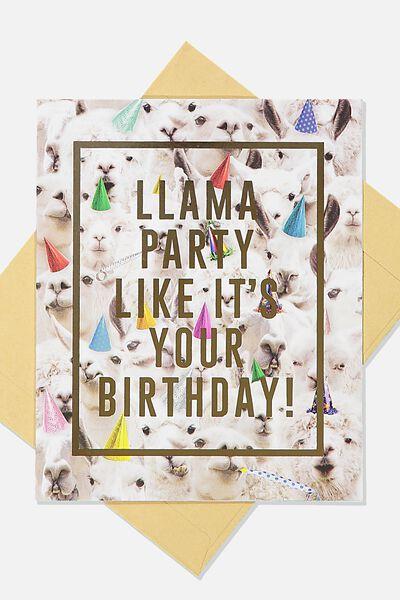 Funny Birthday Card, LLAMA PARTY HATS