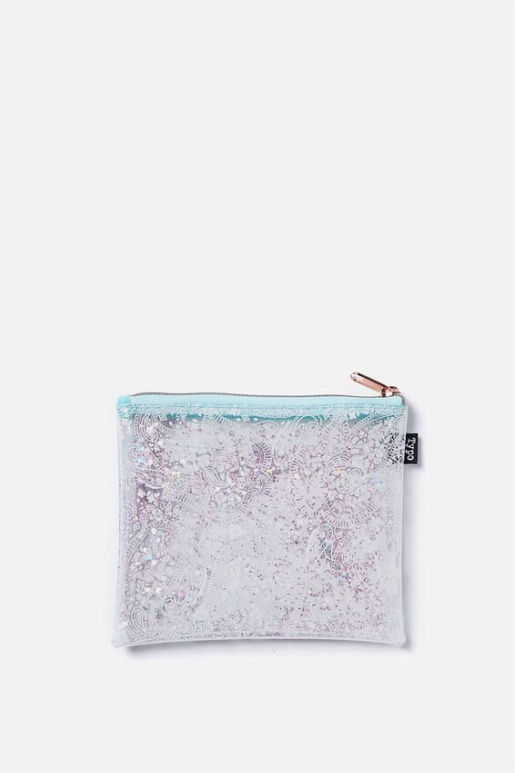 Clear It Pencil Case, WHITE LACE