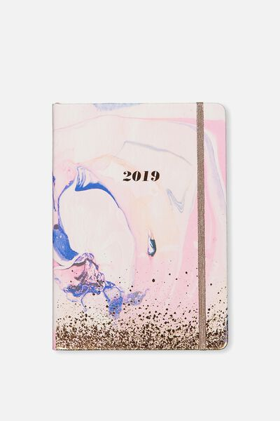 2019 A5 Weekly Buffalo Diary, PINK WATERCOLOUR