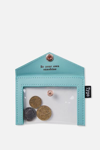Buffalo Envelope Coin Purse, AQUA BE SUNSHINE