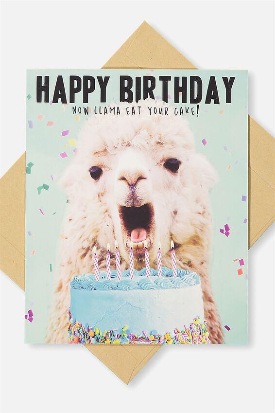 Funny Birthday Card, LLAMA CAKE