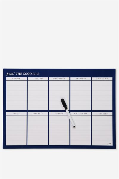 A3 Magnetic Planner, NAVY GOOD LIFE
