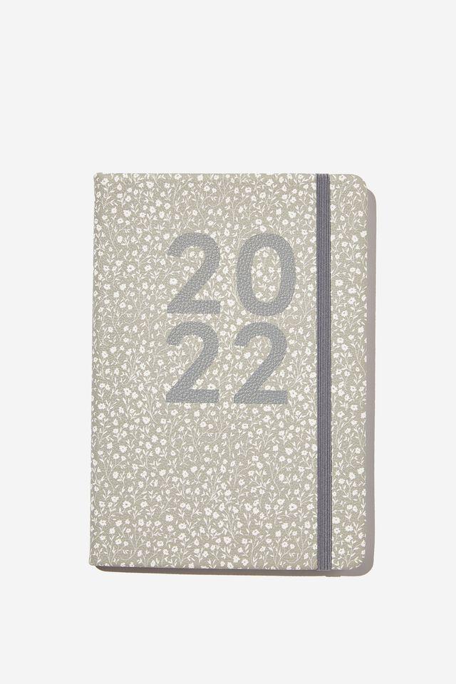 2022 A5 Weekly Buffalo Diary, COOL GREY MEADOW DITSY