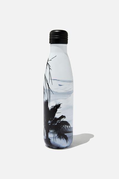 Metal Drink Bottle, BLACK & WHITE OCEAN SCENE