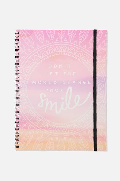 A4 Spinout Notebook Recycled, MANDALA CHANGE YOUR SMILE