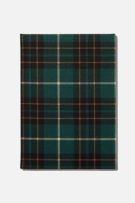 A4 Oxford Notebook, FLANNO CHECK GREEN