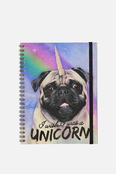 A5 Spinout Notebook - 120 Pages, UNICORN PUG