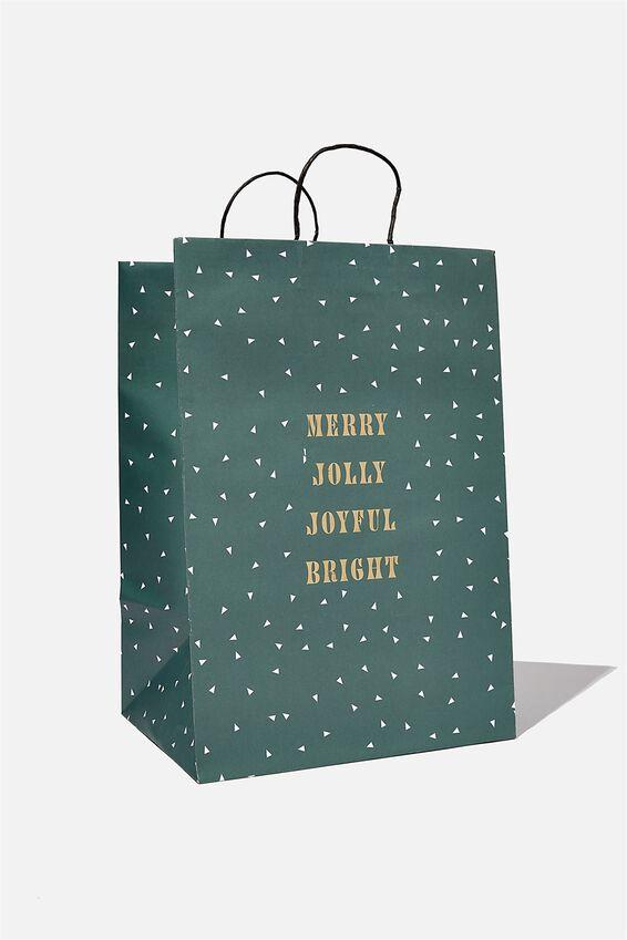 Get Stuffed Gift Bag - Large, MERRY JOLLY JOYFUL GREEN