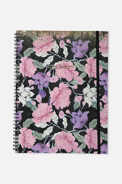 A4 Spinout Notebook - 120 Pages, SAGE FLORAL SPLATTER