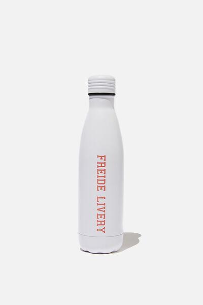 Personalised 500ml Metal Drink Bottle, WHITE