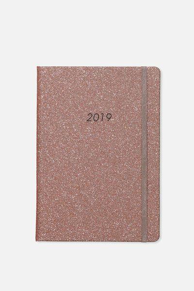 2019 A5 Medium Weekly Buffalo Diary, ROSE GOLD GLITTER