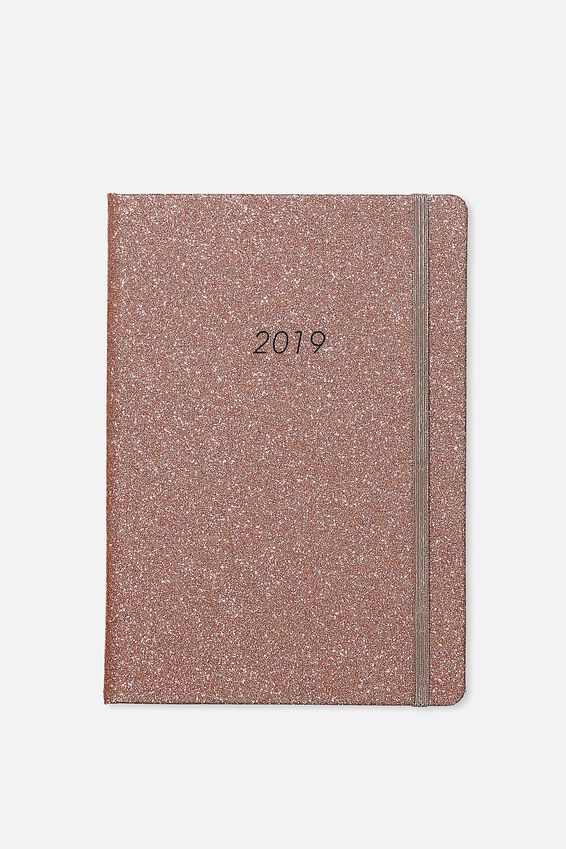 2019 A5 Weekly Buffalo Diary, ROSE GOLD GLITTER